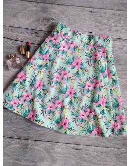 Яркая юбка солнце клеш в цветочный принт от h&m